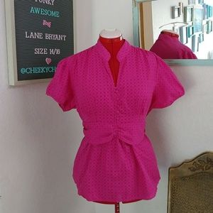 Lane Bryant retro polka dot empire blouse top